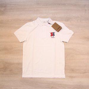 Burberry Pique White Fabric Polo Shirt